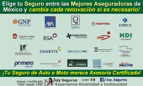 Las mejores aseguradoras de autos y motos disponibles en Juy Seguros México