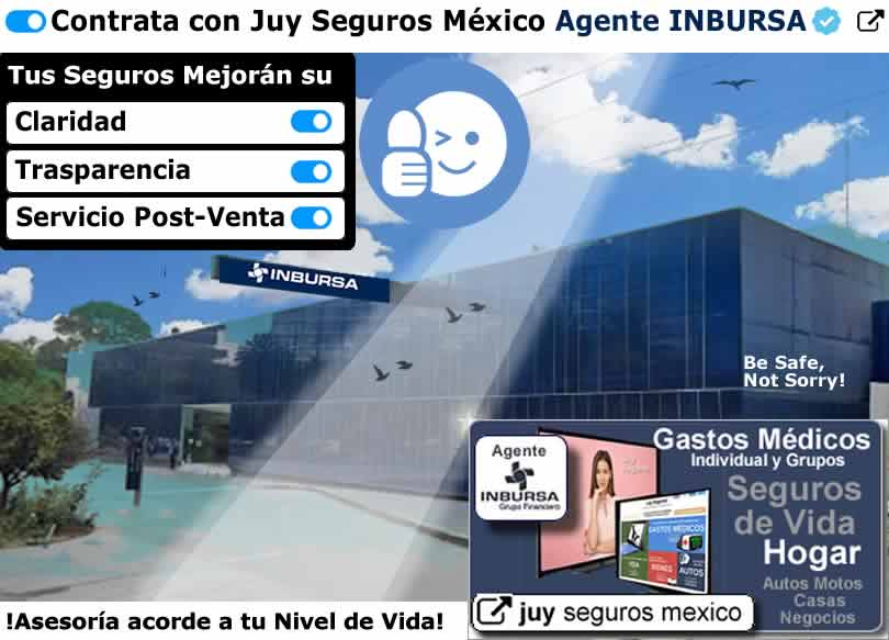 INBURSA Agente JUY SEGUROS MEXICO de Auto Vida Gastos Medicos Hogar Casa SeguBeca Retiro